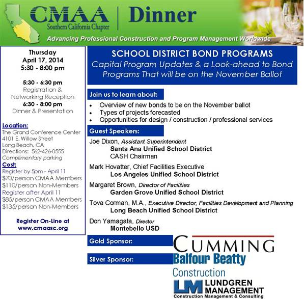 CMAA S CA Chapter Event 4-15-14